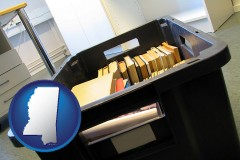ms map icon and a moving box in an empty office, during a relocation project