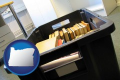 or map icon and a moving box in an empty office, during a relocation project